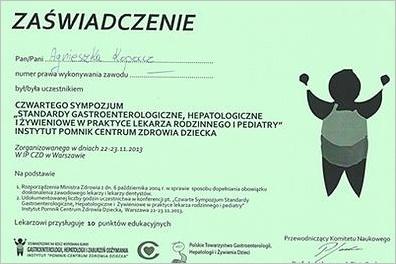 CZWARTE SYMPOZJUM: STANDARDY GASTROENTEROLOGICZNE, HEPATOLOGICZNE I ŻYWIENIOWE W PRAKTYCE LEKARZA RODZINNEGO I PEDIATRY