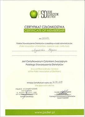 Certyfikat członkostwa Polskiego Stowarzyszenia Dietetyków
